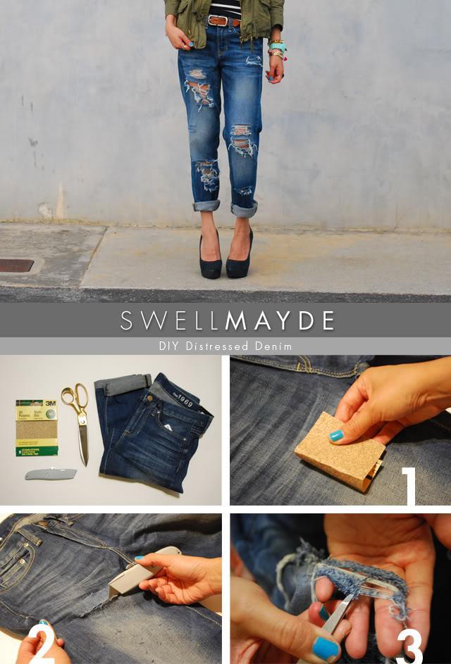 """""""Chế"""" quần jeans rách cá tính"""
