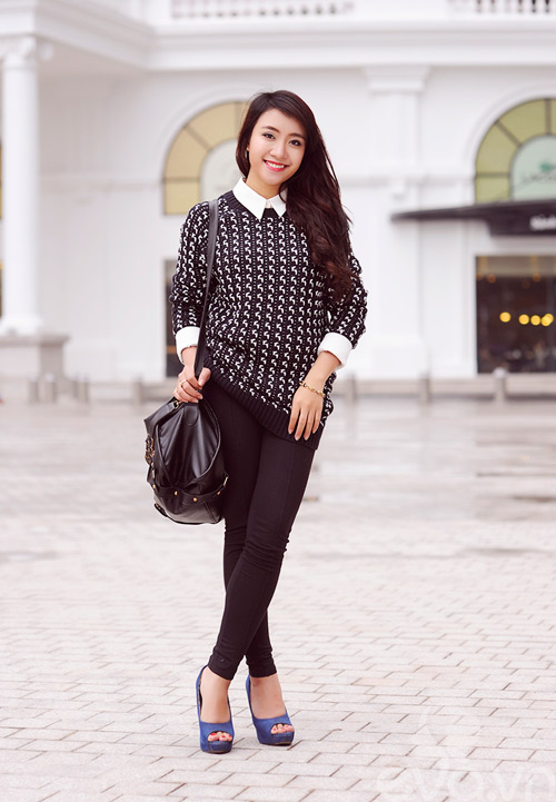 Dễ dàng mặc đẹp mà ấm cùng len oversized - 1
