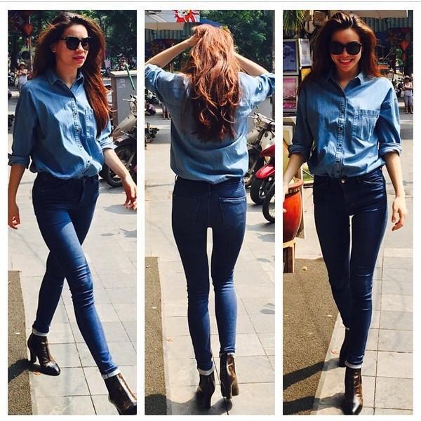 Học lỏm sao Á cách mặc quần jeans xanh thêm thu hút ngày lạnh 6