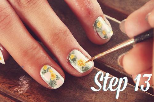 Nail hoa vintage xinh xinh
