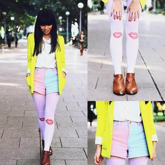 Trở thành cô bạn đáng yêu với áo khoác màu vàng neon đi cùng áo sơ mi cổ peter pan, short pastel 2 màu và đôi tất hoạ tiết ngộ nghĩnh.