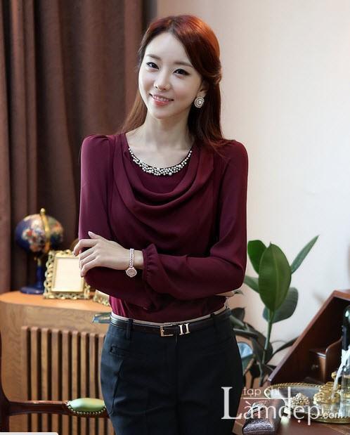 Các mẫu sơ mi nữ công sở đẹp duyên dáng mùa thời trang thu đông 2013