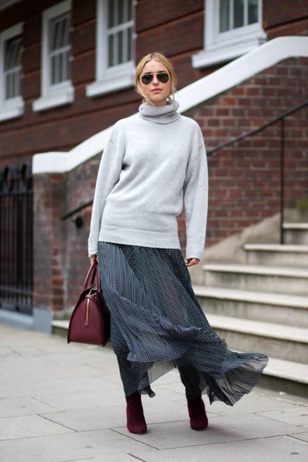 Muôn kiểu kết hợp nhẹ nhàng và ấm áp cùng chân váy midi 14