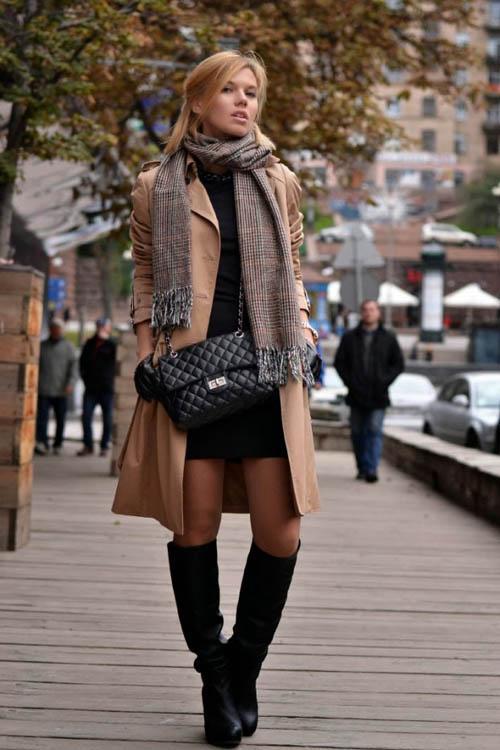 Mix đồ đẹp thu đông với váy liền và chân váy