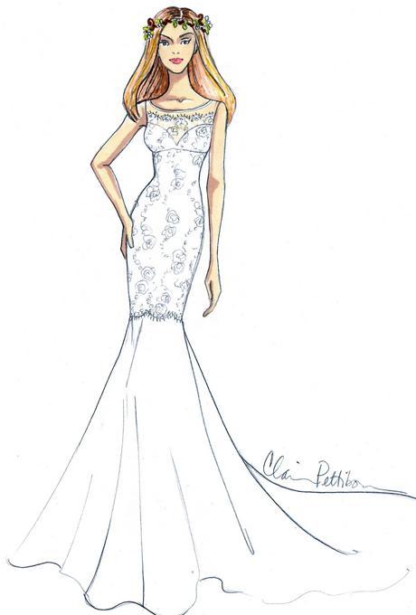 11 bản phác thảo váy cưới cho Jen Aniston