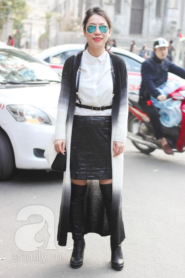 Áo khoác dáng dài tràn ngập street style phái đẹp Hà Thành 1