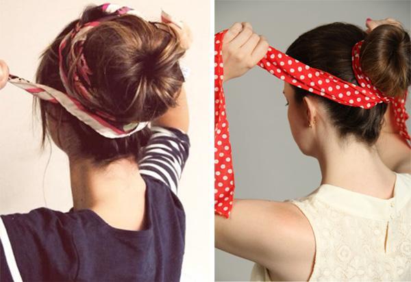 4 cách làm duyên cho tóc với khăn họa tiết