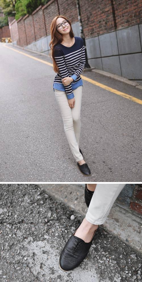 Chọn giày cho quần skinny mùa thu