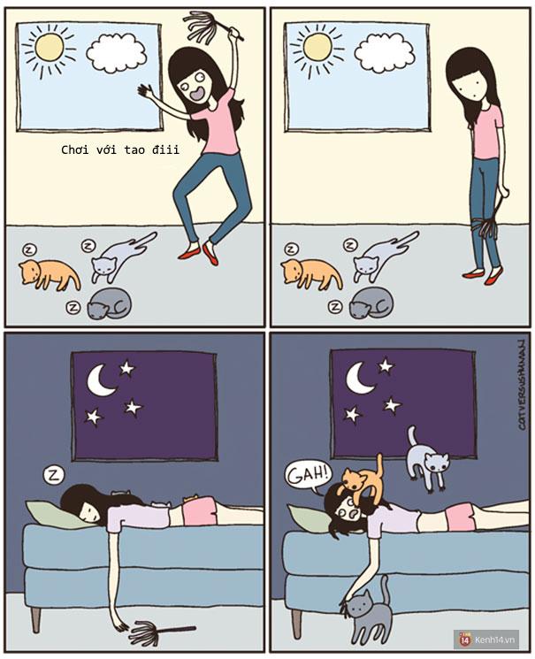 Bộ tranh: Chỉ những ai nuôi mèo mới có thể hiểu sâu sắc những tình cảnh này - Ảnh 17.