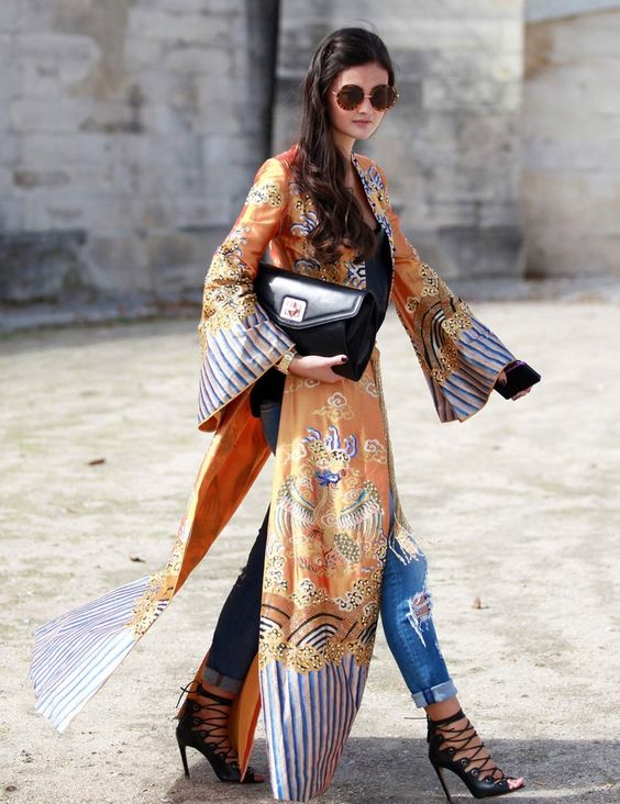 áo kimono dáng dài