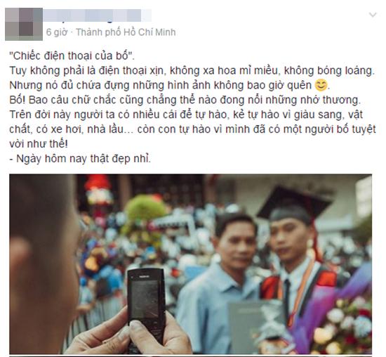 Bức ảnh cảm động: Cái ôm đầy tình cảm trong lễ tốt nghiệp và chiếc điện thoại của cha - Ảnh 1.