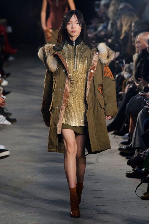 áo khoác nữ parka màu quân đội