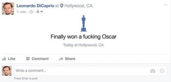 MXH ngập lụt ảnh chế Leo: Tượng vàng Oscar - Lần này là anh cầm thật đấy nhé! - Ảnh 2.