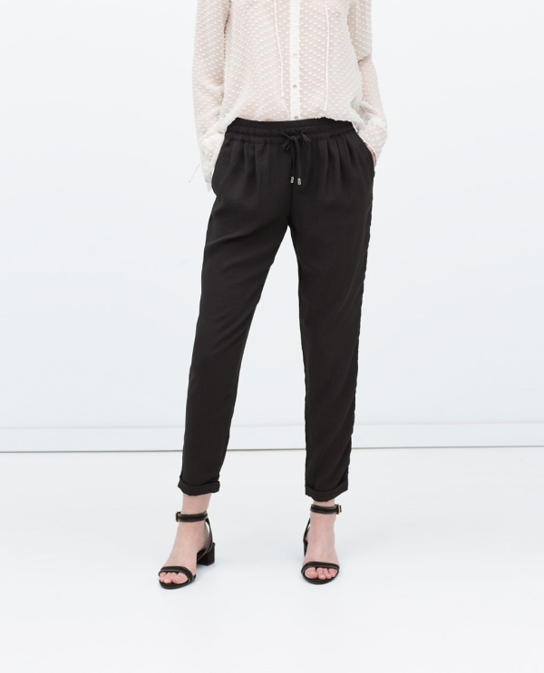 Image 2 of DRAWSTRING WAIST TROUSERS from Zara
