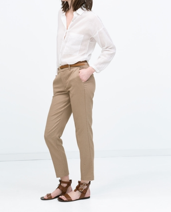 Image 2 of BELTED JACQUARD TROUSERS from Zara