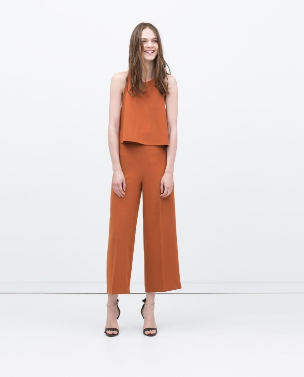 Image 1 of CROPPED HIGH WAISTED TROUSERS from Zara