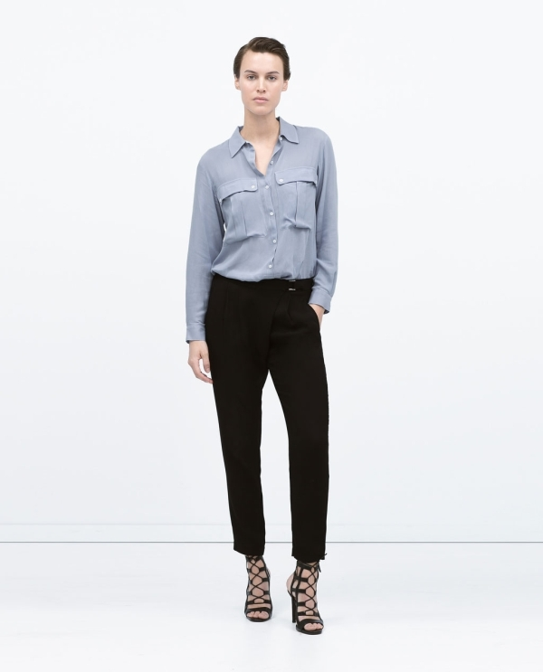 Image 1 of CROSSOVER BUCKLED TROUSERS from Zara