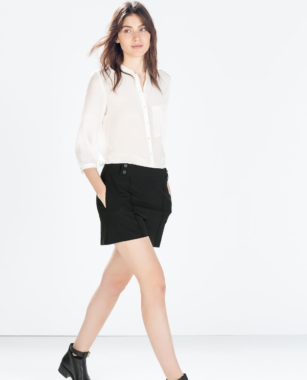 Image 2 of LIGHT WOOL SHORTS from Zara