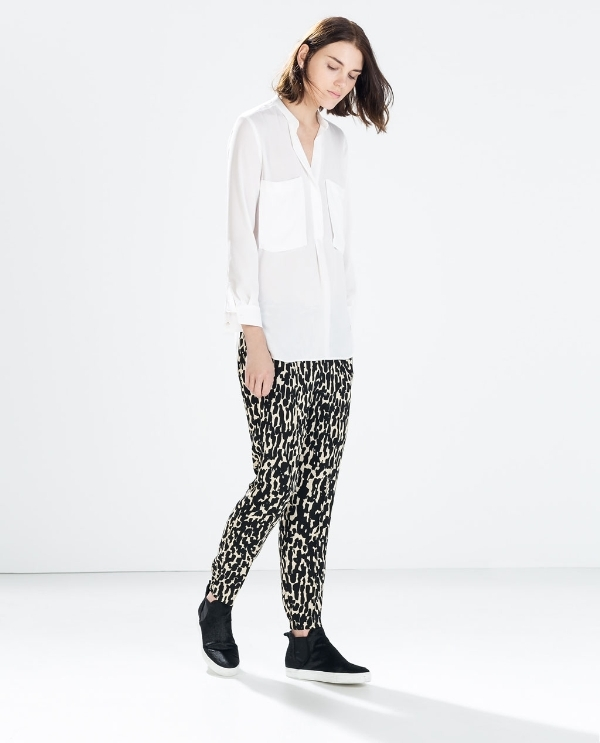 Image 1 of ANIMAL PRINT ELASTICATED WAIST TROUSERS from Zara