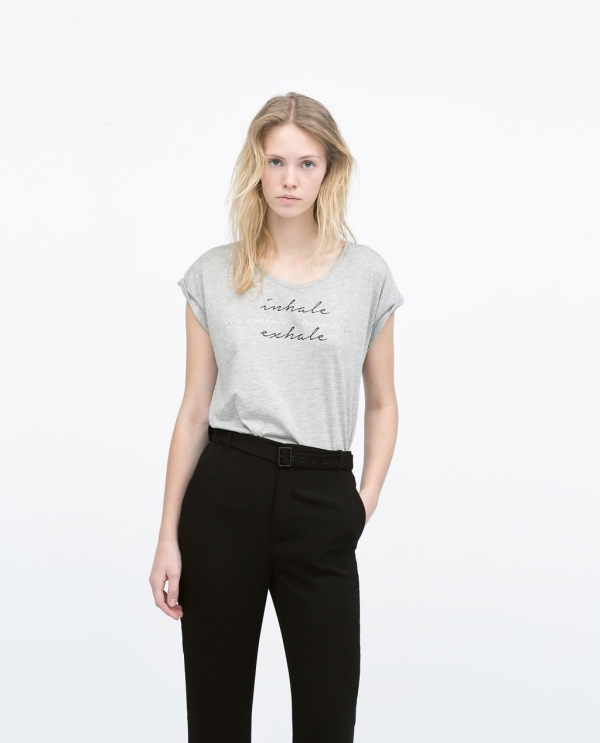Image 1 of T-SHIRT WITH TEXT AND DIAMANTE from Zara