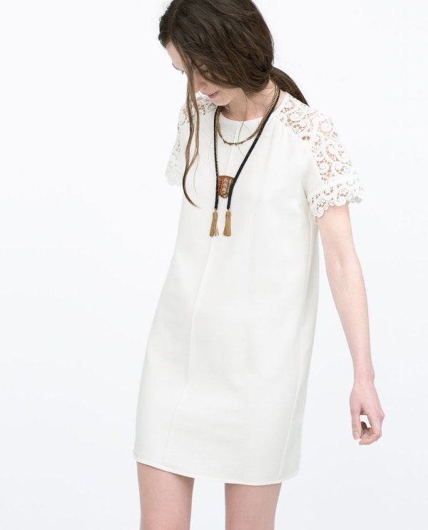 Image 2 of LOOSE DRESS WITH GUIPURE YOKE from Zara
