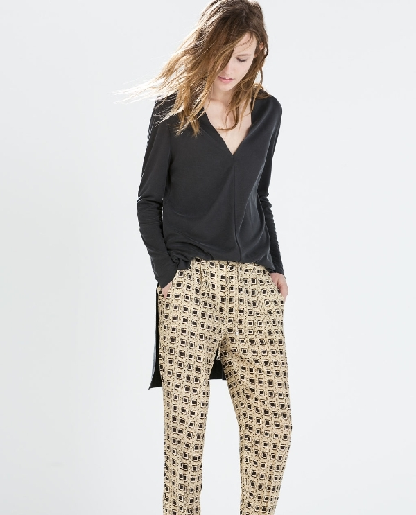 Image 2 of PRINTED PAJAMA STYLE TROUSERS from Zara