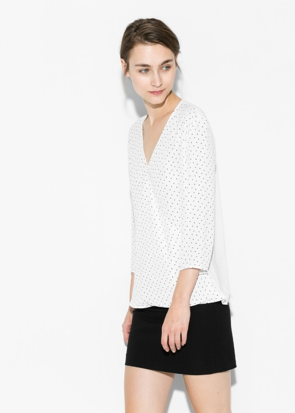 Polka-dot wrap blouse