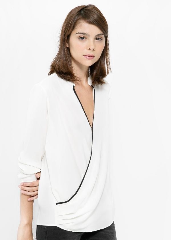 Wrap neckline blouse