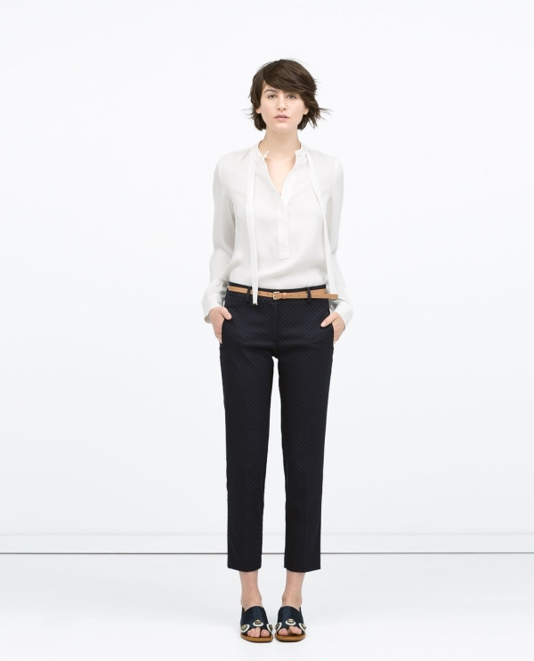 Image 1 of FLOCK DOTS BELTED TROUSERS from Zara
