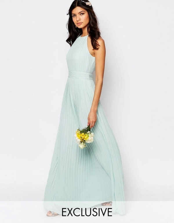 Image 1 of TFNC WEDDING High Neck Pleated Maxi Dress