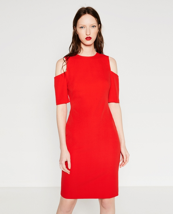 SHIFT DRESS WITH CUT-OUT SHOULDERS