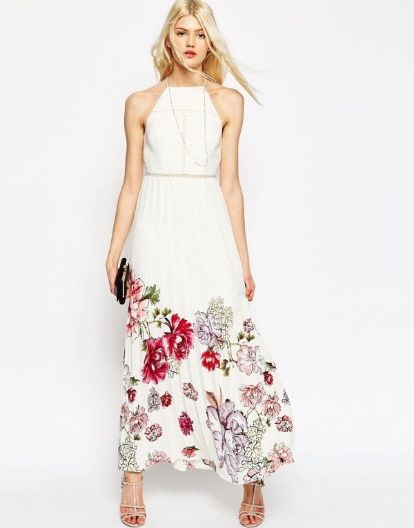 Image 1 of ASOS Occasion Pleated Maxi Dress With Floral Border Print