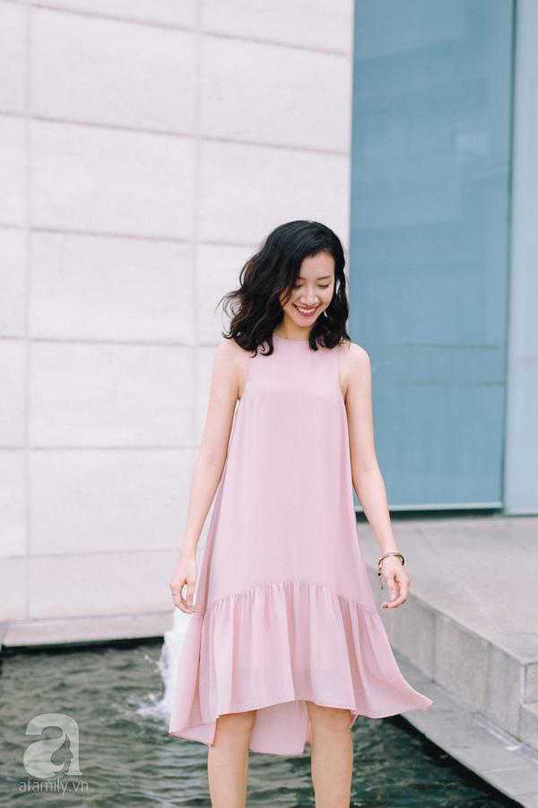 váy liền đơn sắc