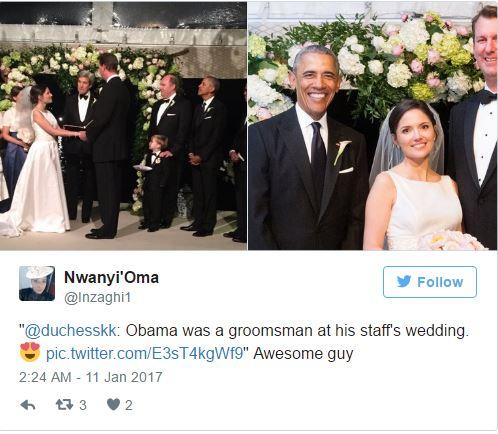 Vừa chia tay xong tối hôm trước, sáng hôm sau Tổng thống Obama đã đi làm phù rể đám cưới