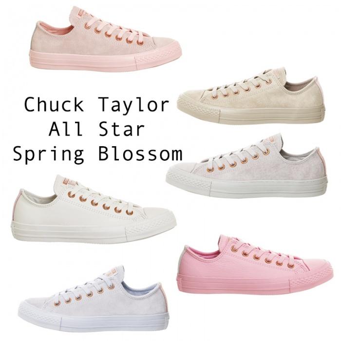 """Đầu tháng 3, hãng giày Converse ra mắt bộ sưu tập Chuck Taylor All Star Spring Blossom hợp tác với hãng OFFICE của Anh. Những đôi giày cũng được lấy từ mẫu All Star Low quen thuộc của Converse nhưng được """"nhuộm"""" 6 tông màu pastel gồm hồng, xám, xanh, kem…."""