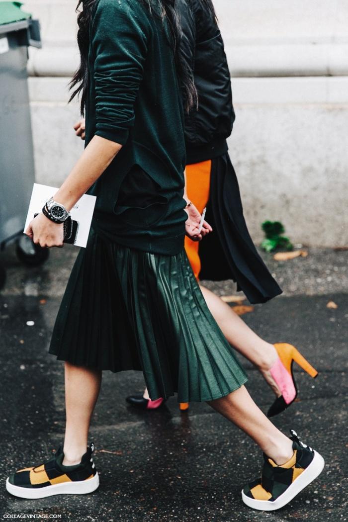Cách phối đồ cho nữ lùn cùng giày đế bằng và dày.