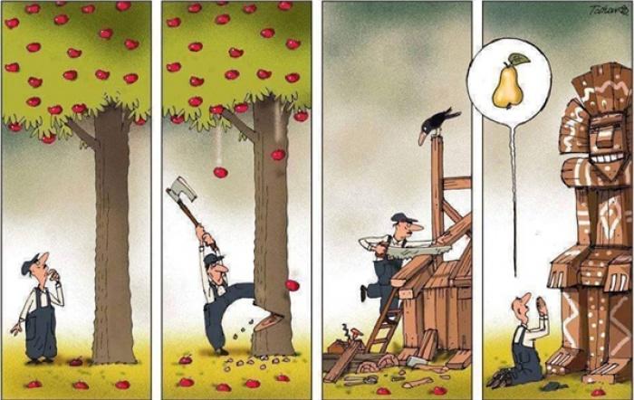 Chặt bỏ cả một cây táo để xin đổi lấy một quả lê, đó là tư duy của người biết hưởng thụ hay của kẻ phá hoại?