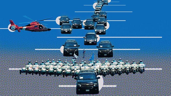 Sơ đồ của một đoàn xe hộ tống tổng thống Mỹ. Đồ hoạ: Thedrive.