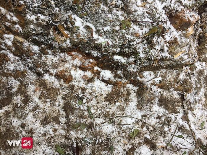 Một lớp tuyết mỏng đọng lại trên mặt đất