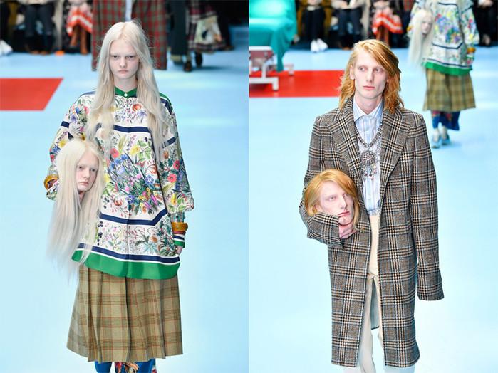 Những chiếc đầu gây sốt trên sàn catwalk của Gucci.