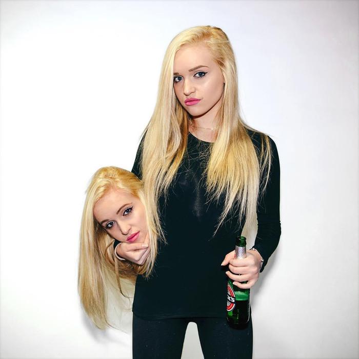 Bạn đoán thử xem, đây là cái đầu được photoshop, hay đầu của đứa em gái sinh đôi?