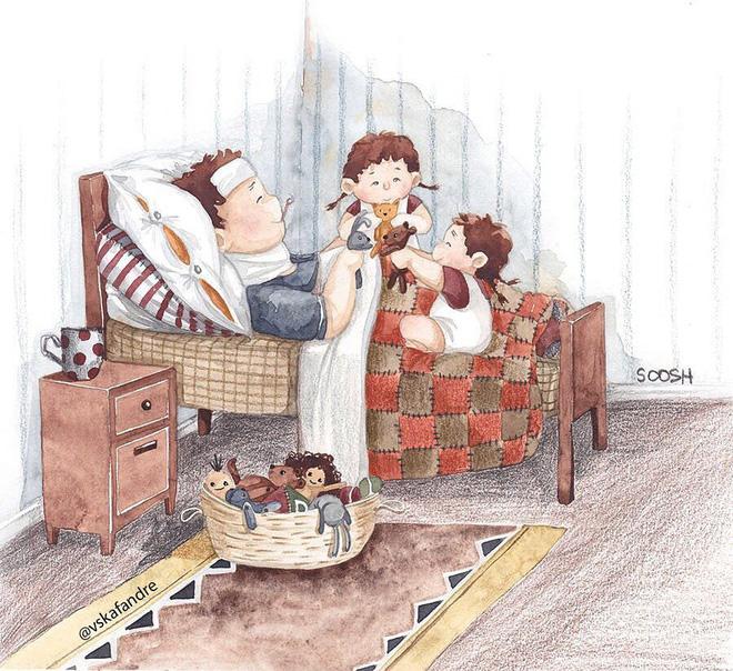 Tan chảy trước bộ tranh một gia đình nhỏ, một hạnh phúc to, ai xem xong cũng ước ao nhà mình được như thế - Ảnh 3.