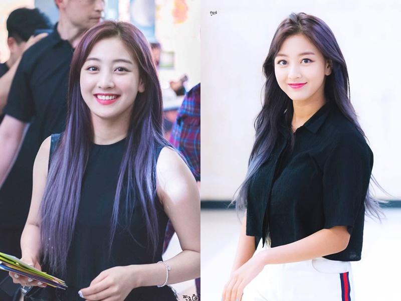 Bí quyết tạo nên nhan sắc nữ thần của Jihyo (Twice): Màu tóc tím khói!