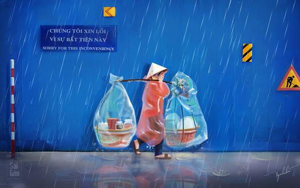 Người phụ nữ gánh hàng rong bước vội dưới mưa.