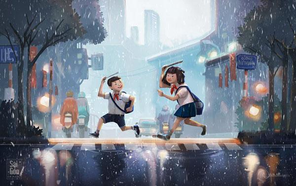 Những cô, cậu học sinh chạy vội khi cơn mưa bất ngờ ập tới.