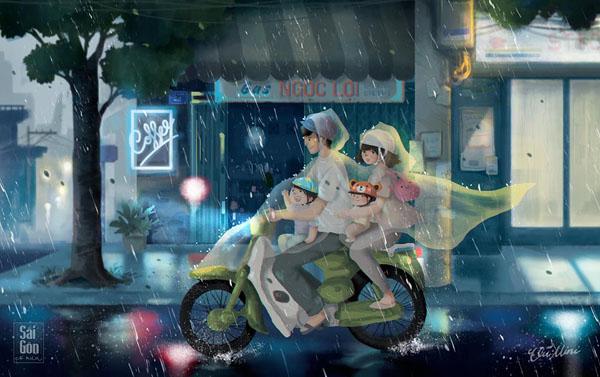Một gia đình nhỏ đội áo mưa di chuyển trong ngày Sài Gòn 'dở tính'.