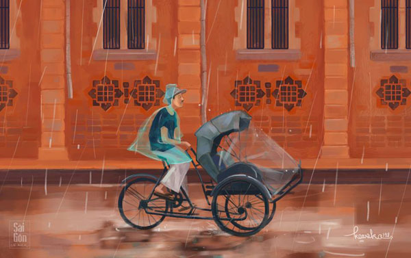 Bộ ảnh 'Sài Gòn có mưa' được tái hiện lại đầy sinh động và đáng yêu.
