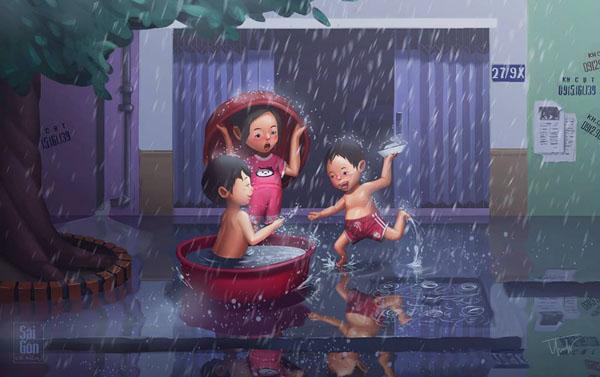 Những đứa trẻ thích thú tắm mưa.