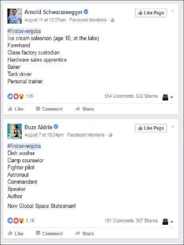 Nam diễn viên nổi tiếng Arnold Schwarzenegger từng làm người bán kem, hay người thứ hai đặt chân lên mặt trăng Buzz Aldrin từng làm rửa chén đĩa.