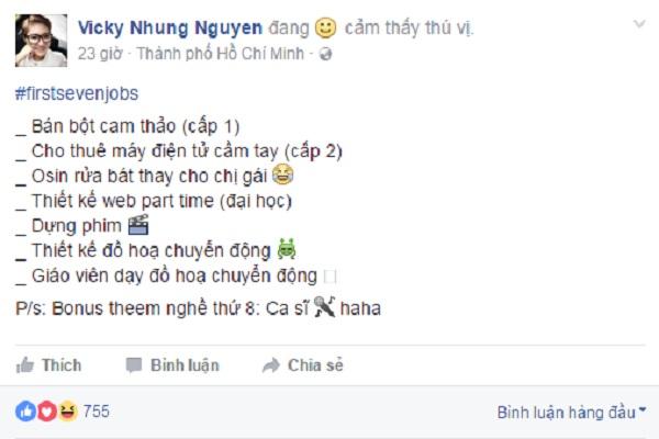 Công việc đầu tiên trong đời của ca sĩ Vicky Nhung là... bán cam thảo